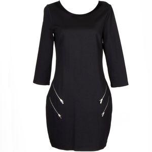 Express Double Zipper Pockest Black Dress